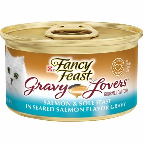Fancy Feast Gravy Lovers Salmon & Sole Feast in Seared Salmon Gravy Wet Cat Food Perspective: front