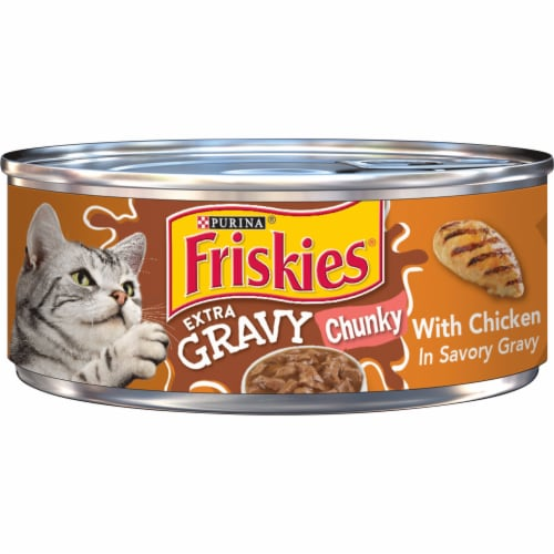 Friskies Extra Gravy Chunky with Chicken in Savory Gravy Wet Cat Food Perspective: front