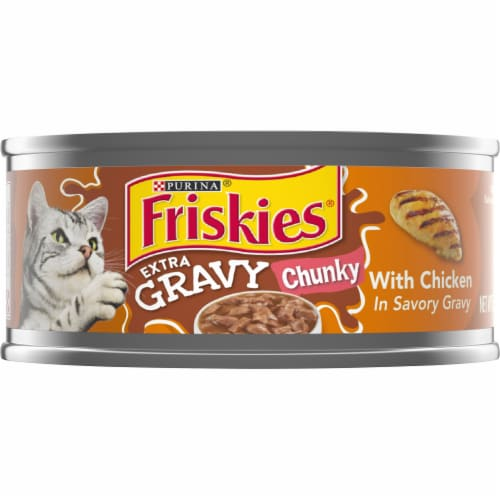 Friskies Chunky with Chicken in Savory Gravy Perspective: front