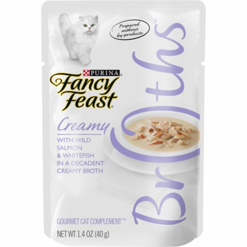 Fancy Feast Creamy Broths with Wild Salmon & Whitefish Wet Cat Food Pouch Perspective: front