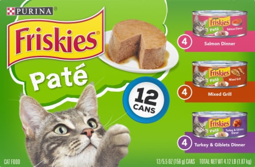 Friskies Classic Pate Salmon Turkey & Grilled Wet Cat Food Variety Pack Perspective: front