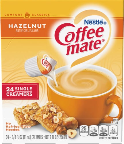 Coffee-mate Hazelnut Flavored Single Serve Creamers 24 Count Perspective: front
