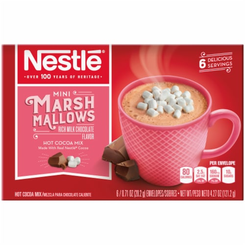 Nestle Hot Cocoa Mix with Mini Marshmallows Packets 6 Count Perspective: front