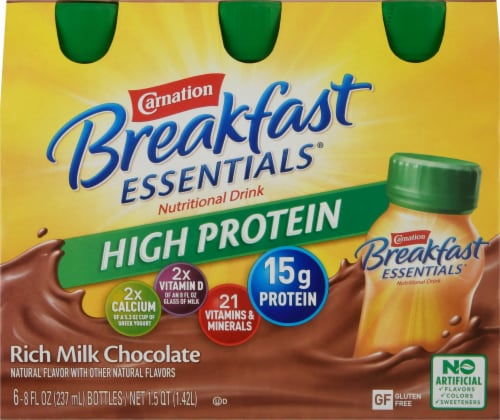 Carnation Breakfast Essentials High Protein Rich Milk Chocolate Drink Perspective: front