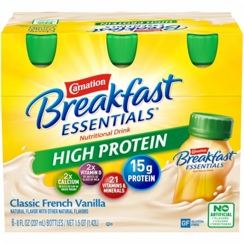 Carnation Breakfast Essentials High Protein Classic French Vanilla Drink Perspective: front