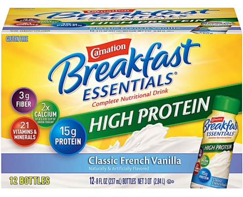 Carnation Breakfast Essentials High Protein Classic French Vanilla Nutritional Drink (4 Pack) Perspective: front