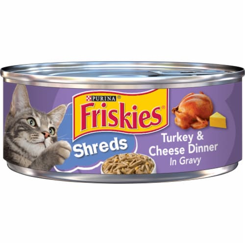Friskies Shreds Turkey & Cheese Dinner in Gravy Wet Cat Food Perspective: front