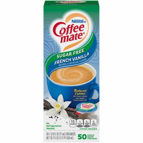 Coffee-mate Sugar Free French Vanilla Single Serve Coffee Creamers 50 Count Perspective: front