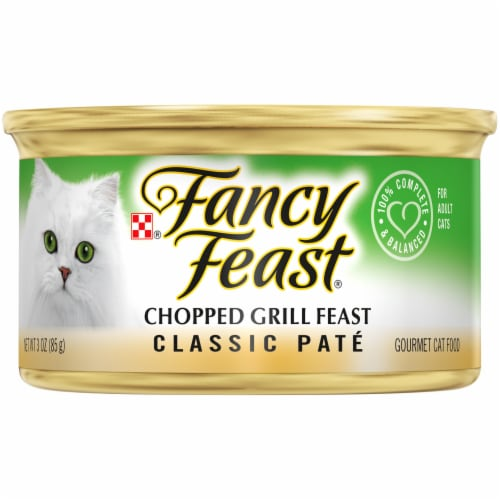 Purina Fancy Feast Classic Pate Chopped Grill Feast Wet Cat Food Can Perspective: front