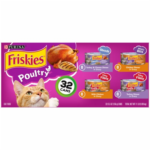 Friskies® Poultry in Gravy Wet Cat Food Variety Pack Perspective: front