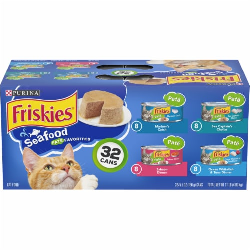 Friskies Pate Seafood Favorites Wet Cat Food Variety Pack Perspective: front