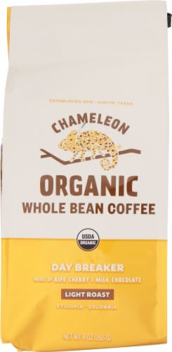 Chameleon Organic Day Breaker Light Roast Whole Bean Coffee Perspective: front