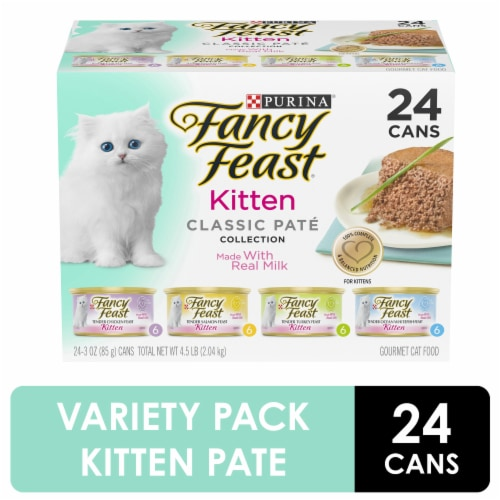 Fancy Feast Classic Pate Collection Wet Kitten Food Variety Pack Perspective: front