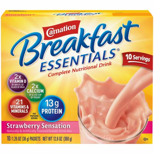 Carnation Breakfast Essentials Strawberry Sensation Drink Mix Perspective: front