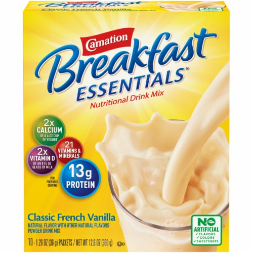 Carnation Breakfast Essentials Classic French Vanilla Powder Drink Mix Perspective: front