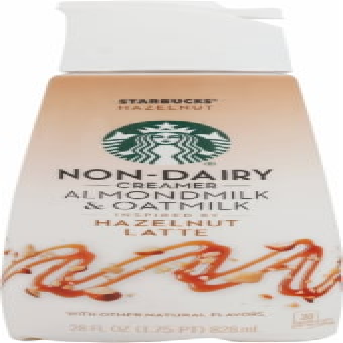 Starbucks Almondmilk & Oatmilk Hazelnut Latte Non Dairy Coffee Creamer Perspective: front