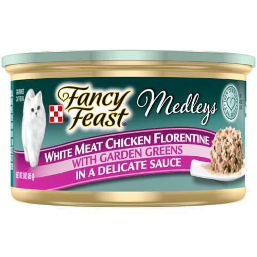 Purina Fancy Feast Medleys White Meat Chicken Florentine Gravy Wet Cat Food Can Perspective: front