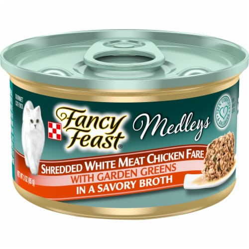 Fancy Feast Medleys Shredded White Meat Chicken Fare Wet Cat Food Perspective: front