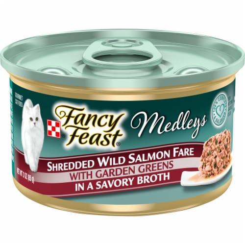 Fancy Feast Medleys Shredded Wild Salmon Fare Wet Cat Food Perspective: front