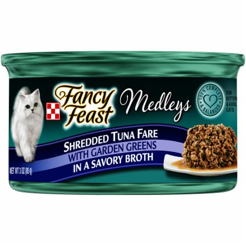 Fancy Feast Medleys Shredded Tuna Fare with Garden Greens Wet Cat Food Perspective: front