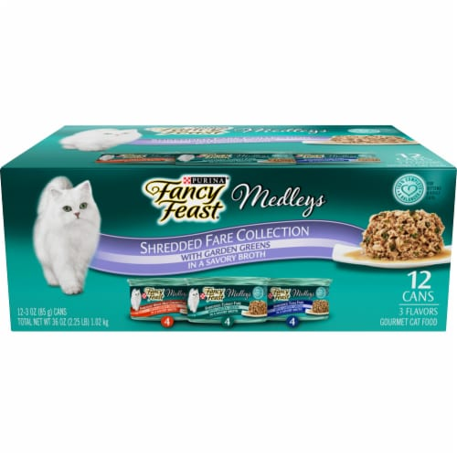 Fancy Feast Medleys Shredded Fare Collection Wet Cat Food Variety Pack Perspective: front