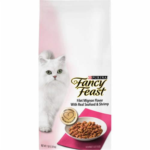 Fancy Feast Filet Mignon Flavor with Real Seafood & Shrimp Dry Cat Food Perspective: front
