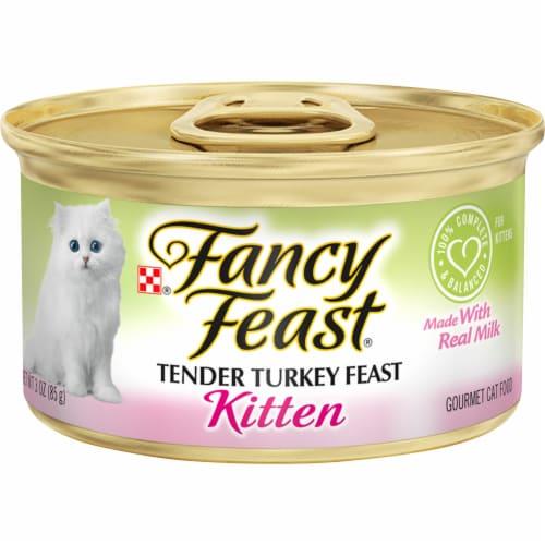 Fancy Feast Tender Turkey Feast Pate Wet Kitten Food Perspective: front