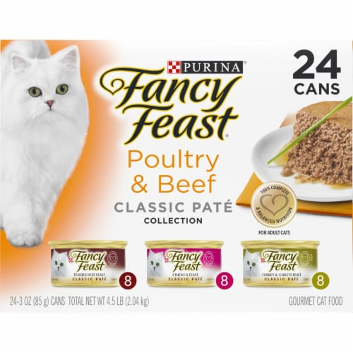 Fancy Feast Poultry & Beef Classic Pate Collection Wet Cat Food Variety Pack Perspective: front