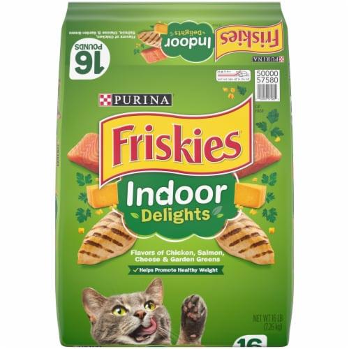 Purina Friskies Indoor Delights Dry Cat Food Bag Perspective: front