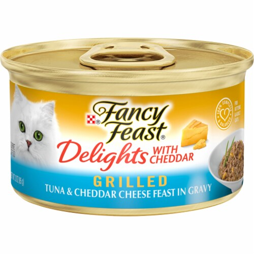 Fancy Feast Delights Grilled Tuna & Cheddar Cheese Feast Wet Cat Food Perspective: front