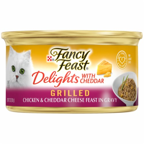Fancy Feast Delights with Cheddar Grilled Chicken & Cheddar Cheese Feast in Gravy Wet Cat Food Perspective: front