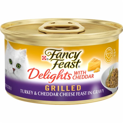 Fancy Feast Delights with Cheddar Grilled Turkey & Cheddar Cheese Feast in Gravy Wet Cat Food Perspective: front