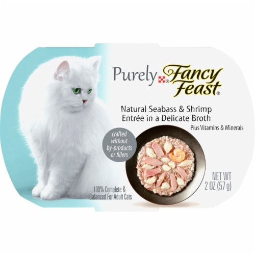 Fancy Feast Purely Natural Sea Bass & Shrimp Adult Wet Cat Food Perspective: front
