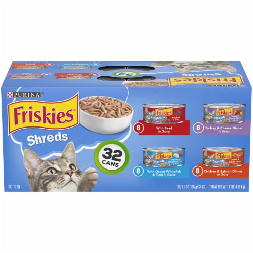 Friskies Savory Shreds Gravy Wet Cat Food Variety Pack 32 Count Perspective: front