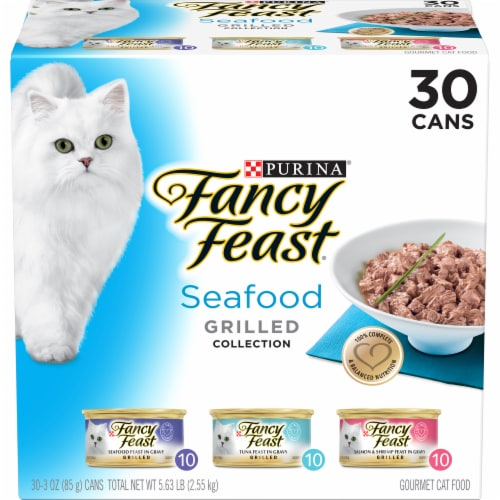 Fancy Feast Grilled Seafood Collection Variety Pack 30 Count Perspective: front