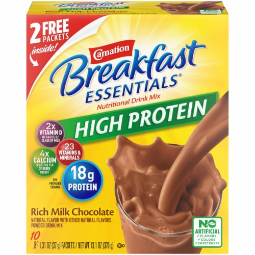 Carnation Breakfast Essentials High Protein Rich Milk Chocolate Breakfast Drink Perspective: front