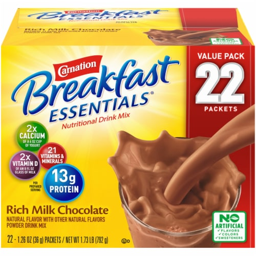 Carnation Breakfast Essentials Rich Milk Chocolate Nutritional Drink Mix Perspective: front