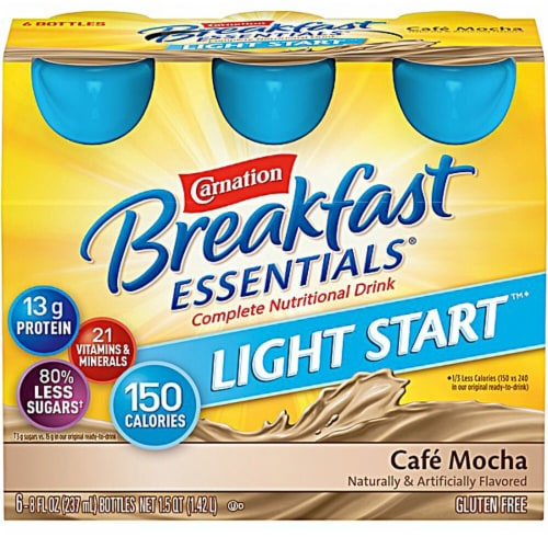 Carnation Breakfast Essentials Cafe Mocha Light Start Nutritional Drink Perspective: front
