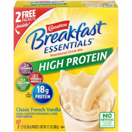 Carnation Breakfast Essentials High Protein Classic French Vanilla Nutritional Drink Mix Packets Perspective: front
