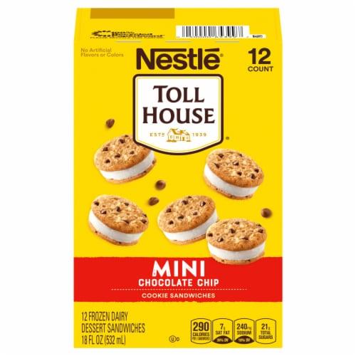 Nestle Toll House Mini Vanilla Chocolate Chip Cookie Frozen Dairy Dessert Sandwiches Perspective: front
