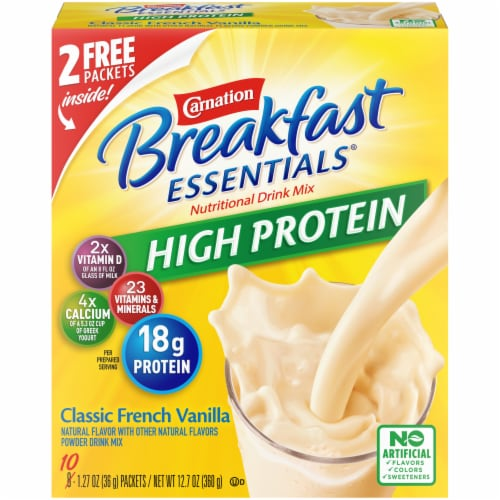 Carnation Breakfast Essentials High Protein Classic French Vanilla Powder Drink Mix Perspective: front