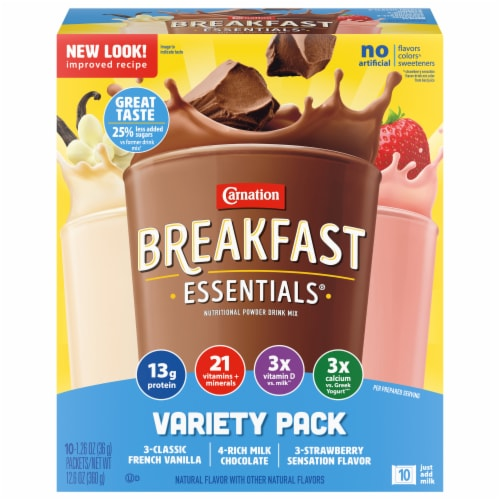 Carnation Breakfast Essentials Powder Drink Mix Variety Pack 10 Count Perspective: front
