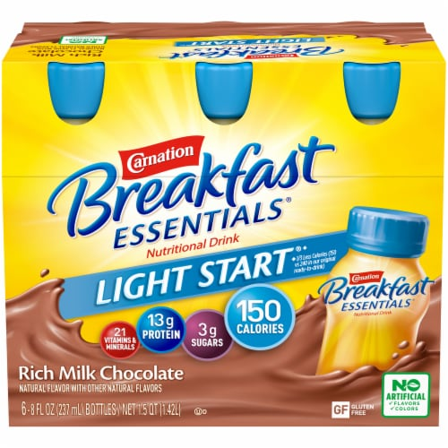 Carnation Breakfast Essentials Light Start Chocolate Nutritional Drink Perspective: front