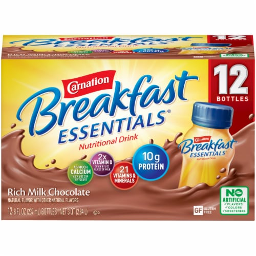 Carnation Breakfast Essentials Rich Milk Chocolate Nutritional Drink Perspective: front
