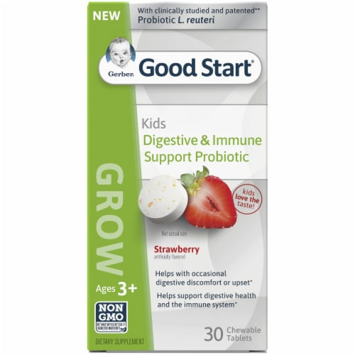 Gerber Good Start Strawberry Flavored Digestive & Immune Support Probiotic Tablets Perspective: front