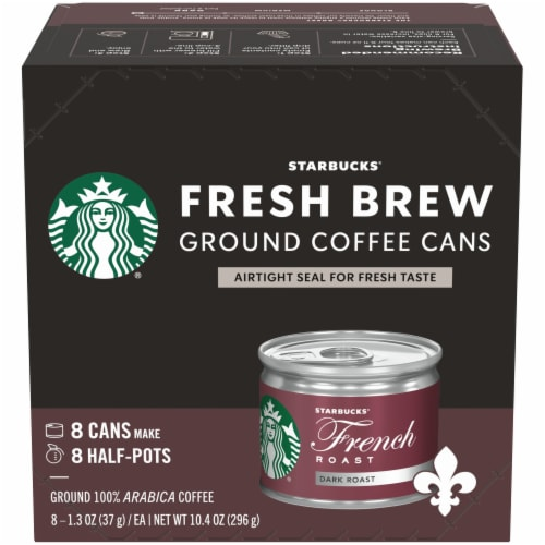 Starbucks Fresh Brew French Roast Ground Coffee Cans 8 Count Perspective: front