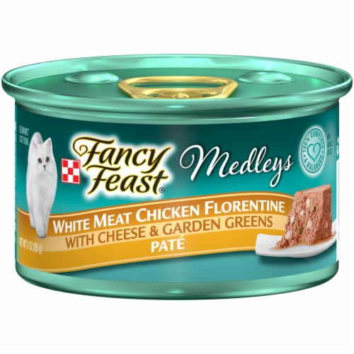 Fancy Feast Medleys White Meat Chicken Florentine with Cheese & Vegetables Pate Wet Cat Food Perspective: front