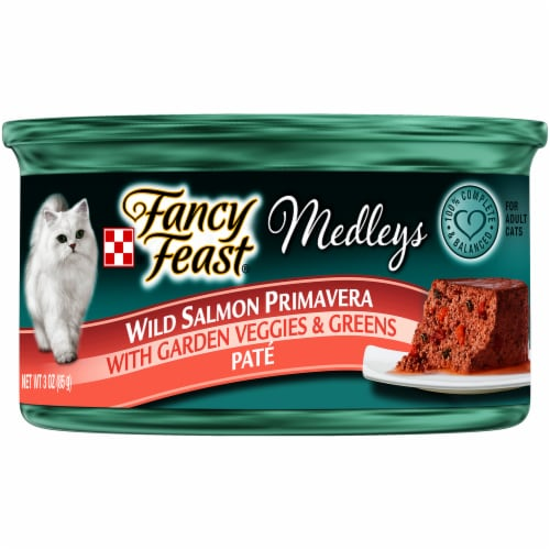 Fancy Feast Medleys Wild Salmon Primavera Pate Wet Cat Food Perspective: front