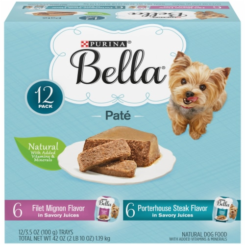 Bella Filet Mignon & Porterhouse Steak Pate in Juices Small Breed Wet Adult Dog Food Variety Pack Perspective: front
