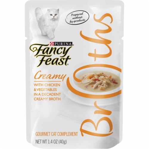 Fancy Feast Broths With Creamy Chicken & Vegetables Cat Food Compliment Perspective: front
